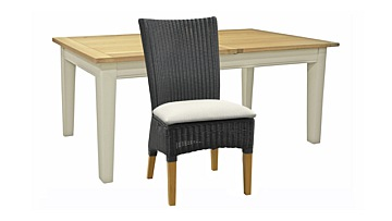 Burghley Extending Dining Table & Badminton Slate Weave Side Chairs