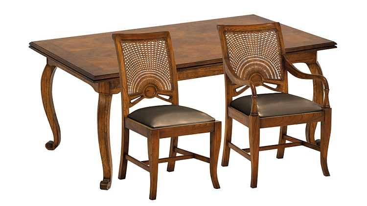 Santiago Extending Dining Table with Leather Carvers & Side Chairs