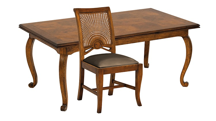 Santiago Extending Dining Table & Leather Side Chairs
