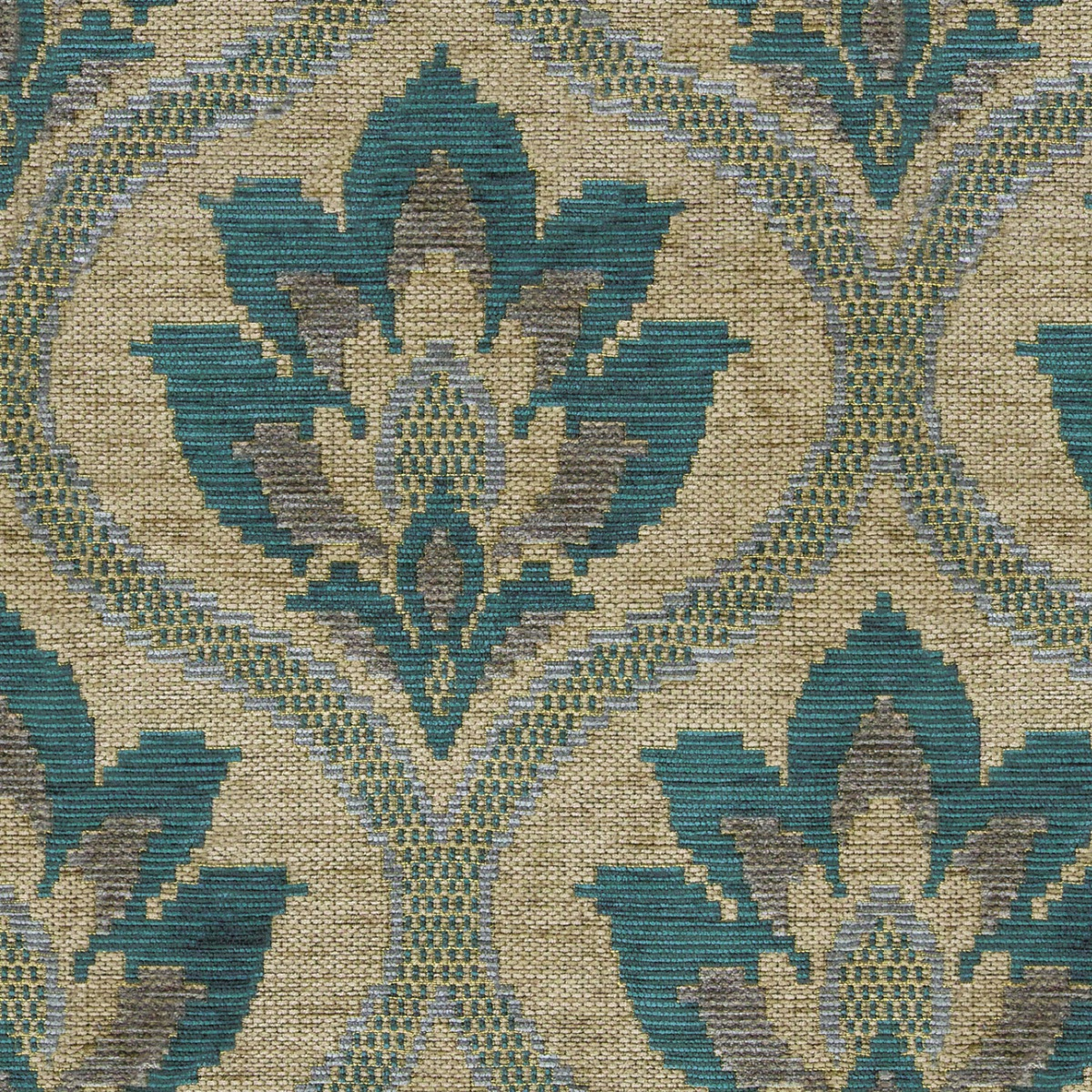 Brington Damask – Teal\Mink